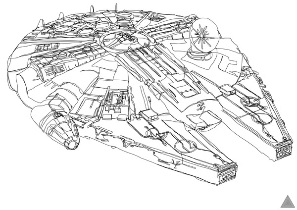 X Wing Line Drawing : Millenium falcon