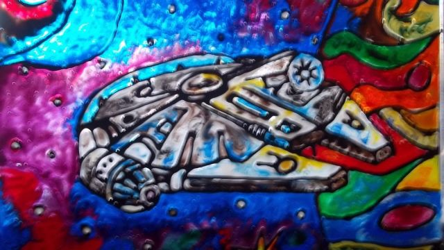 Stained Glass Millennium Falcon