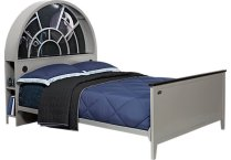 br_bed_3641161p_millenniumfalcon_fl~(i)Star-Wars(-i)-Millennium-Falcon™-Gray-3-Pc-Full-Bookcase-Bed